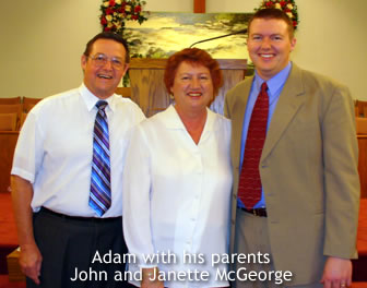 Adam with his parents John and Janette McGeorge